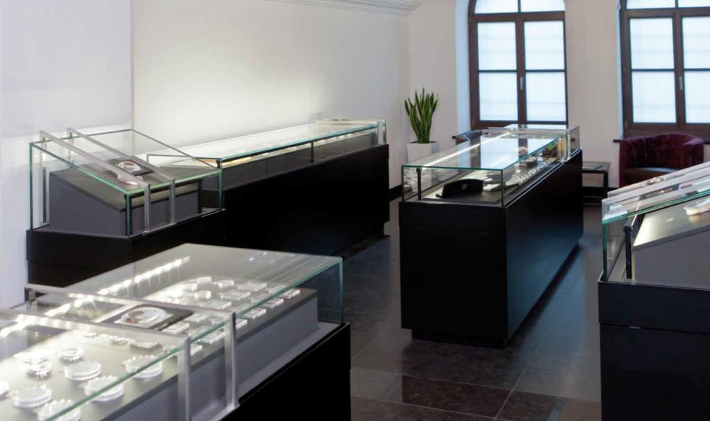 vitrine à monnaie en verre pour musée